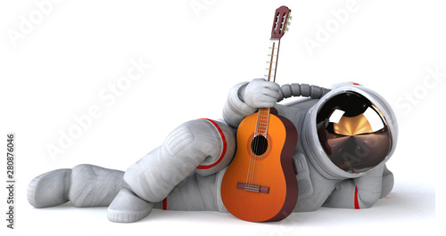 Photo sur Toile Pierre, Sable Fun astronaut - 3D Illustration