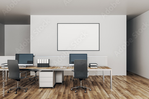 Canvas Prints Countryside Modern office with empty poster