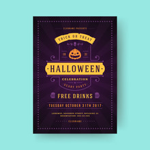 Halloween Party Flyer Celebration Night Party Poster Design Vintage Typography Template Vector Illustration And Pumpkin