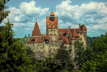 Mysterious Beautiful Bran Castle. Vampire Residence Of Dracula In The Forests Of Romania