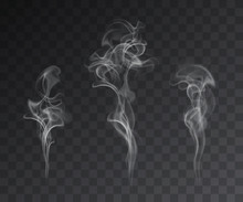 Vector Set Of Realistic Smoke Effects On Dark Background