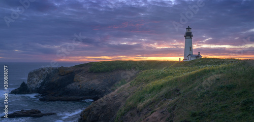 Garden Poster Lighthouse Yaquina Head Lighthouse at sunset