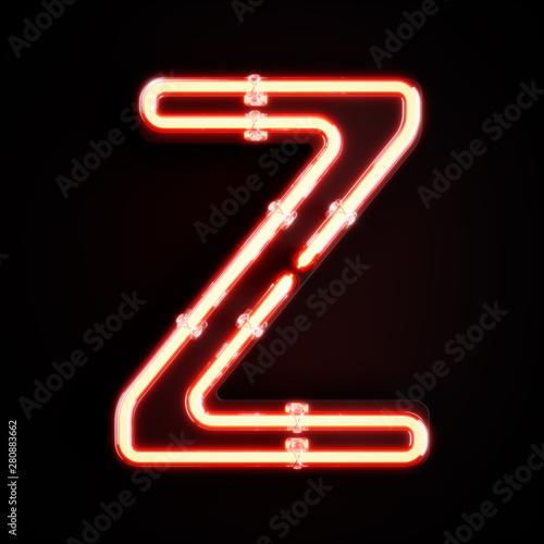 Fotografia Neon light alphabet character Z font