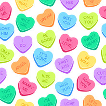 Sweet Heart Candies Pattern. Colorful Valentines Hearts, Love Conversation Candies And Sweetheart Candy. Kiss Me Or Marry Me Candy, Romantic Gift Wrapping Or Greeting Card Seamless Vector Illustration
