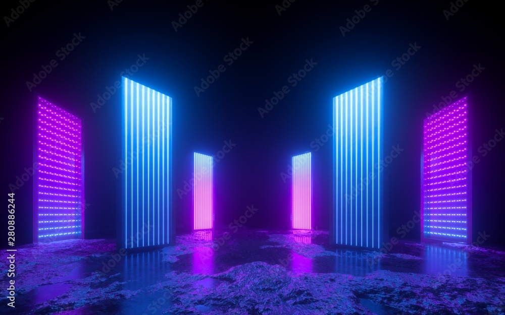 Fototapety, obrazy: 3d render, pink blue neon abstract background, glowing vertical panels in ultraviolet light, futuristic power generating technology, terrain
