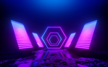 3d Render, Pink Blue Violet Neon Abstract Background, Square Shapes In Ultraviolet Light, Futuristic Power Generating Technology, Glowing Panels, Terrain