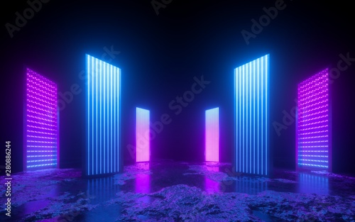 Cadres-photo bureau Pain 3d render, pink blue neon abstract background, glowing vertical panels in ultraviolet light, futuristic power generating technology, terrain