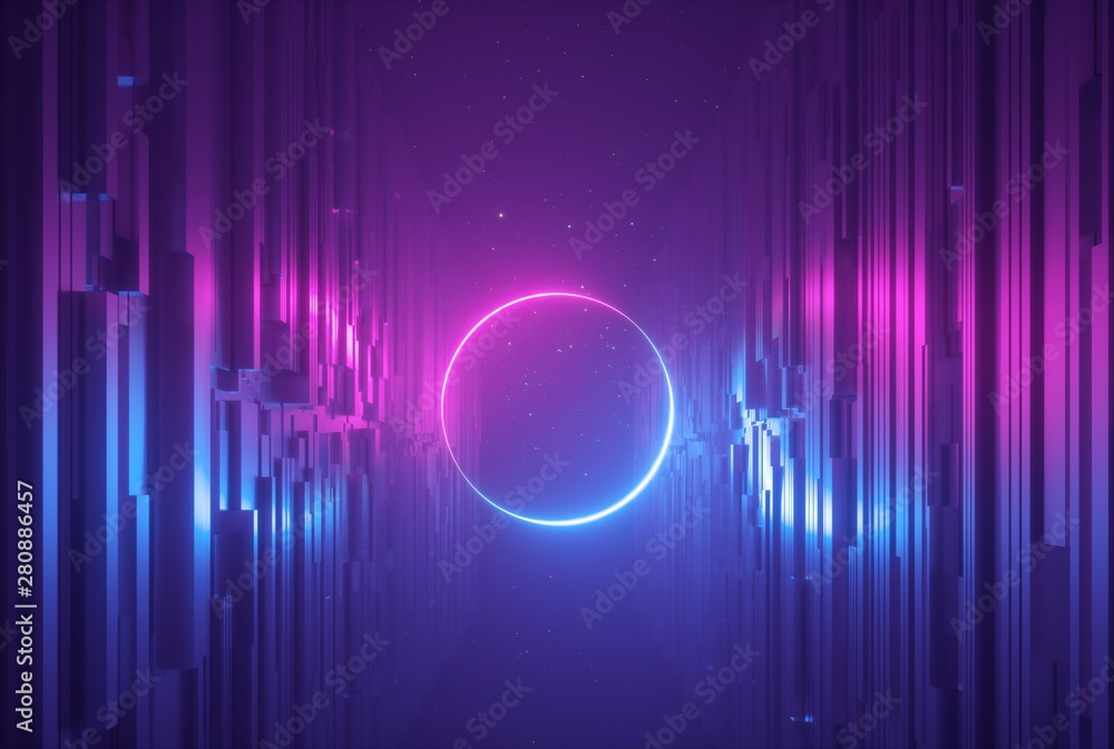 Fototapety, obrazy: 3d render, pink blue neon abstract background with glowing ring, ultraviolet light, laser show, wall reflection, round circle shape