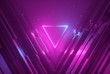 canvas print picture - 3d render, pink blue neon abstract background with glowing triangle, ultraviolet light, laser show, wall reflection, triangular shape