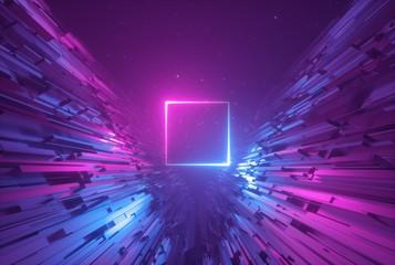 3d render, pink blue neon a...