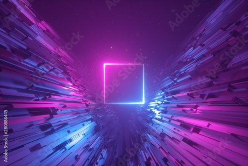 Fotografie, Obraz  3d render, pink blue neon abstract background with glowing square, ultraviolet l