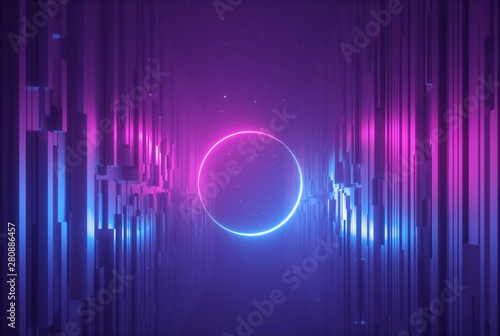 3d render, pink blue neon abstract background with glowing ring, ultraviolet light, laser show, wall reflection, round circle shape