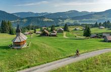 Nice, Active Senior Woman Underway With Her Electric Mountain Bike In The Bregenz Wald Near Dornbirn, VorarlbergAlps, Austria