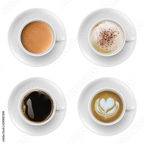 Fototapeta 3d realistic different sorts of coffee in white cups view from the top and side. Cappuccino latte americano espresso cocoa in realistic cups. obraz na płótnie