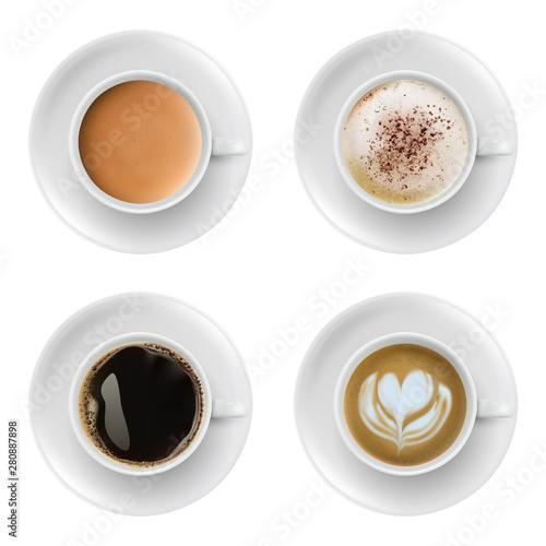 Fototapeta 3d realistic different sorts of coffee in white cups view from the top and side. Cappuccino latte americano espresso cocoa in realistic cups. obraz na płótnie