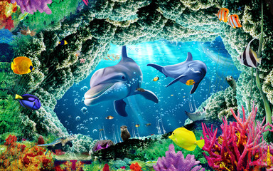 Panel Szklany Nowoczesny 3d illustration wallpaper under sea dolphin, Fish, Tortoise, Coral reefsand water with broken wall bricks background. will visually expand the space in a small room, bring more light and become an ac