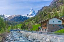 The Summit Of The Matterhorn Mountain Viewed From Zermatt