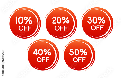 Fototapeta Vector round discount label for sales with different percents. Set of Red Sale stickers. Well separated from the background. Background can be changed. obraz