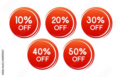 Vector round discount label for sales with different percents Tapéta, Fotótapéta