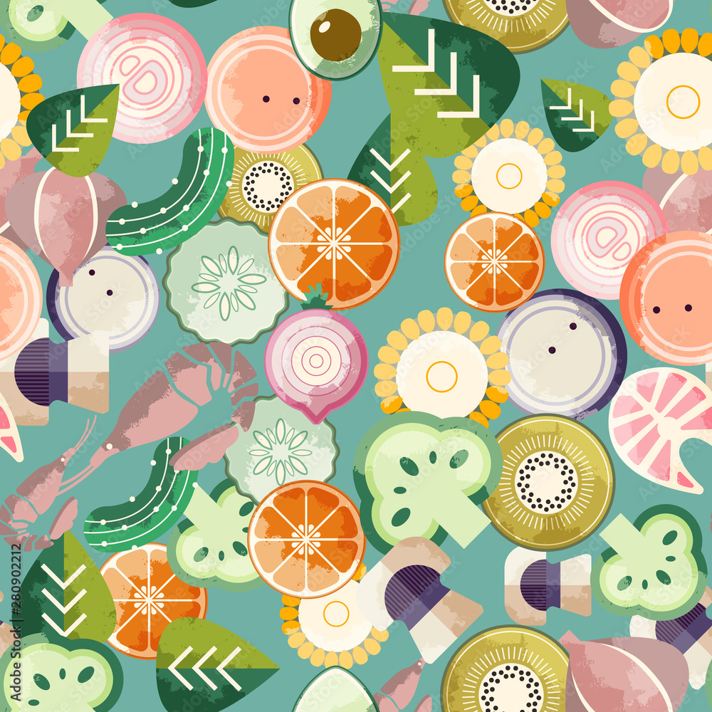 Food seamless pattern. Good for leaflets, cards, posters, prints, menu, booklets