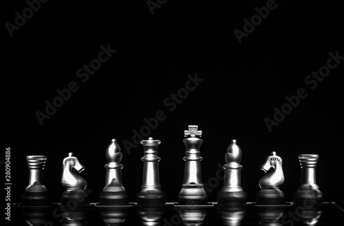 Canvas Print View of chess board game represents smart business strategy