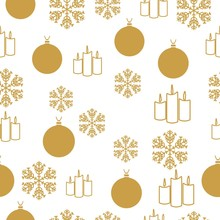 Merry Christmas Gold Elements On White Background. Seamless Graphic Pattern Made With Elements Of Zentangl And Doodle. Wrapping Paper Illustration