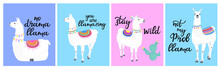A Set Of Cards With Llamas And Funny Inscriptions. Can Be Used For Posters, For T-shirt Printing.
