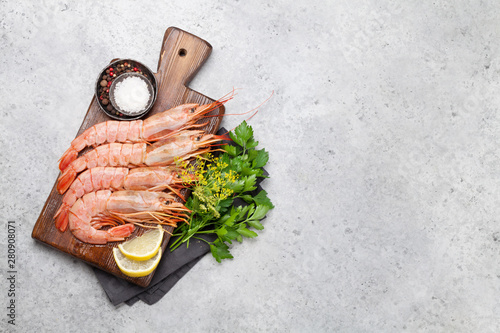 Fresh seafood. Langostino shrimps