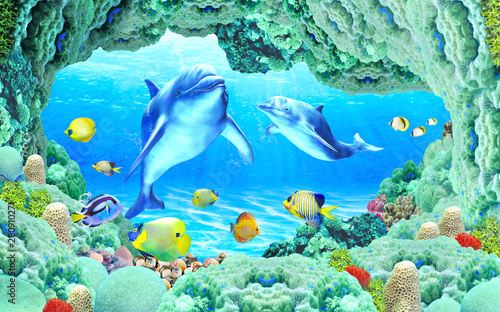 Obrazy Delfiny 3d-illustration-wallpaper-under-sea-dolphin-fish-tortoise-coral-reefsand-water-with-broken-wall-bricks-background-will-visually-expand-the-space-in-a-small-room-bring-more-light-and-become-an-ac
