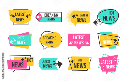 Obraz News badges. Newspaper and magazine braking latest and hot news stickers. Vector announcement geometric concept banners headline flat image - fototapety do salonu