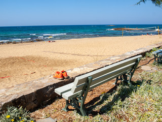 View of sandy beach in Malia on Crete, Greece