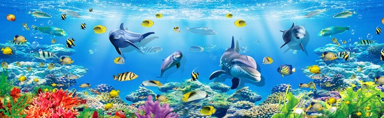 Fototapeta Delfin 3d illustration wallpaper under sea dolphin, Fish, Tortoise, Coral reefsand water with broken wall bricks background. will visually expand the space in a small room, bring more light and become an ac