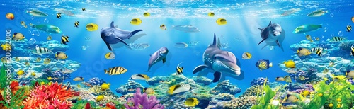 3d illustration  wallpaper under sea dolphin, Fish, Tortoise, Coral reefsand water with broken wall bricks background Fototapeta