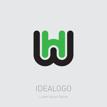 W And H Initial Logo. WH Initial Monogram Logotype. HW - Vector Design Element Or Icon.