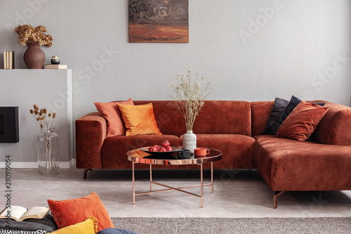 Fashionable velvet corner sofa with pillows next to elegant coffee table with flowers