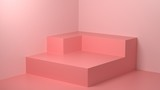 3d Render image of abstract pink color geometric shape background, modern minimalist mockup for podium display or showcase