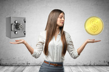 Crop Image Of Young Attractive Businesswoman, Hands At Sides, Levitating Locked Money Vault And Huge Golden Coin.