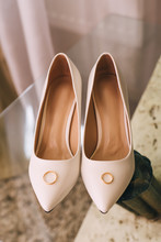 Wedding Shoes Gold Rings On A Beautiful Background. Wedding Ceremony Gathering Bride And Groom. Two Mr And Mrs