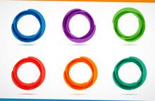 Set Of Color Circles. Vector Illustration.