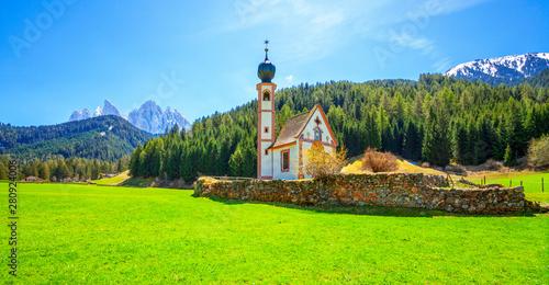 Montage in der Fensternische Lime grun Dolomite Alps. St Johann Church in Santa Maddalena, Val Di Funes, Dolomites, Italy.