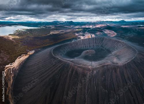 Fotografie, Obraz  Hverfjall or Hverfell - extinct volcano located in the north of Iceland to the east of Lake Mývatn