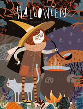Halloween! Vector Illustration Of A Cute Girl Witch In A Cap Who Cooks A Potion On A Campfire In A Fabulous Autumn Forest. Freehand Drawing Of A Character For A Poster, Card Or Cover.