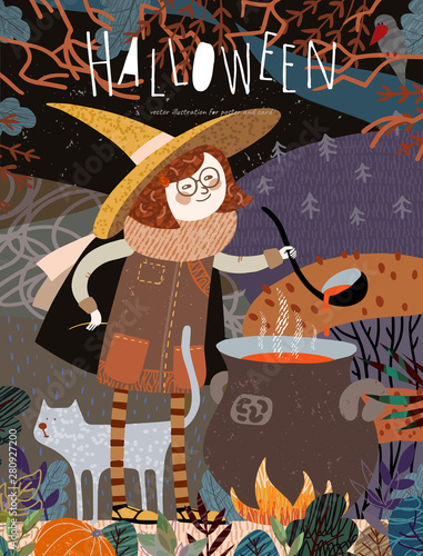 Ingelijste posters Halloween Halloween! Vector illustration of a cute girl witch in a cap who cooks a potion on a campfire in a fabulous autumn forest. Freehand drawing of a character for a poster, card or cover.
