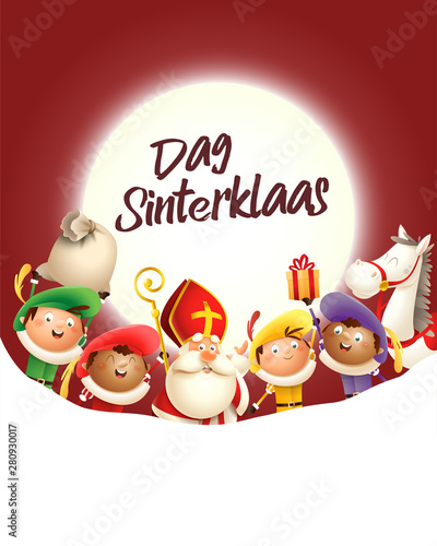 Fotomural Saint Nicholas and his friends celebrate holiday in front of moon - Dag Sinterkl