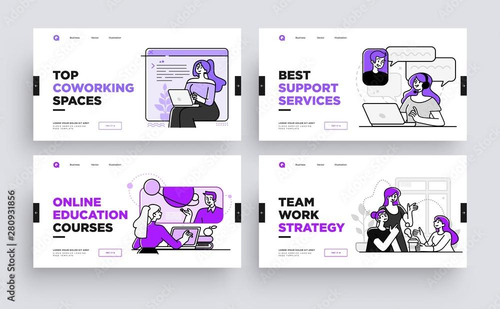 Fototapety, obrazy: Set of Presentation slide templates or landing page websites design. Business concept illustrations. Modern flat outline style.