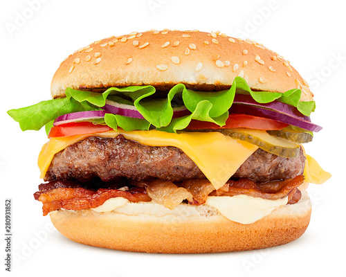 delicious fast food, burger, hamburger, cheeseburger, isolated on white backgrou Canvas Print