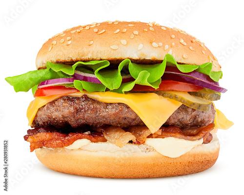 delicious fast food, burger, hamburger, cheeseburger, isolated on white backgrou Billede på lærred
