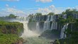 Iguazu falls seen from the Argentinian side of the national park