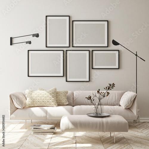 mock up poster frame in modern interior background, living room, Scandinavian style, 3D render, 3D illustration - 280936682