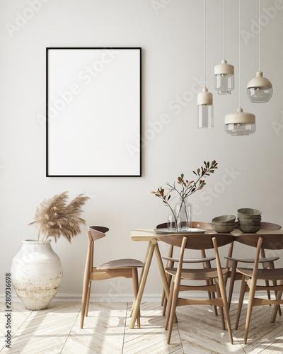 Pinturas sobre lienzo  mock up poster frame in modern interior background, living room, Scandinavian st